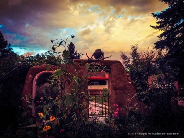 Pot over garden gate Nambe 2014