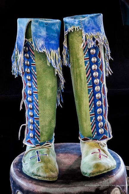 Kiowa women's hightop moccasins or boots, made by C.A.Smith